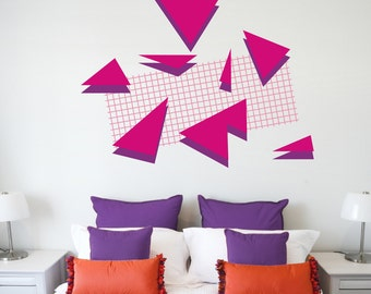 80s art deco wall decal set, 80s retro, memphis group style, geometric vinyl wall art, FREE SHIPPING