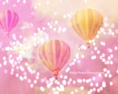 Dreamy Pink Yellow Balloon Photos, Baby Girl Nursery Art, Carnival Pink Hot Air Balloons Art, Pink Balloons Child Nursery Baby Room Wall Art