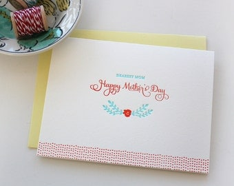 Letterpress Mother's Day Card - Dearest Mom