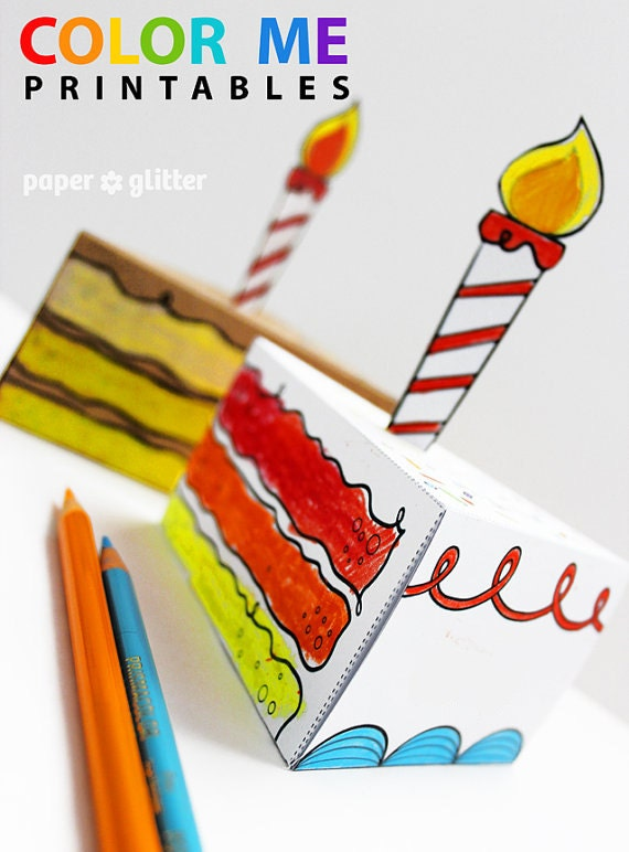 Birthday Paper Cake favor baking party box printables coloring