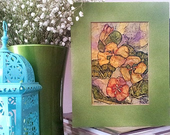 Original Painting ZEN Inspired FLORAL Watercolor On Tissue NASTURTIUMS Lynne French Free Shipping