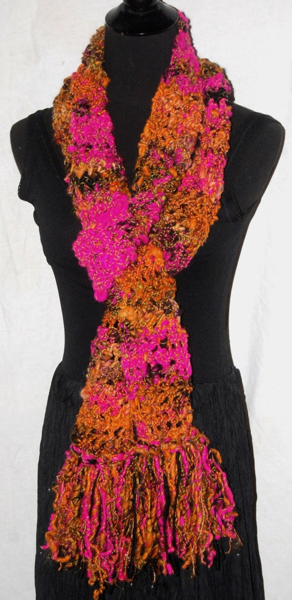 Dark Orange, Fuschia & Black Long Handmade Crochet Scarf OOAK