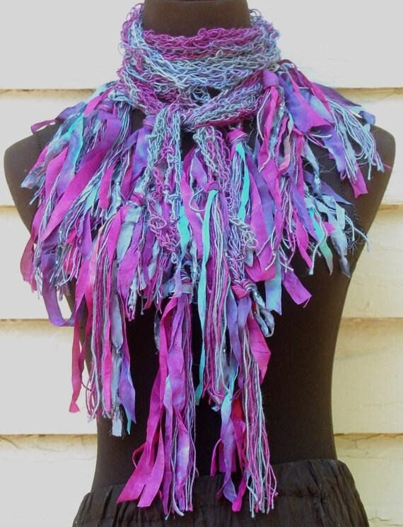 Blue Aqua & Plum Purple Bamboo Handmade Crochet Scarf