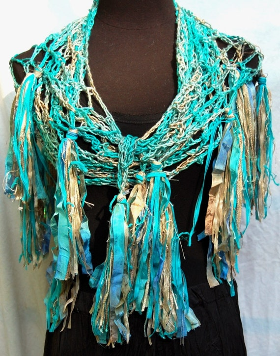Turquoise, Aqua, Beige & Tan Silk and Seacell Handmade Crochet Scarf