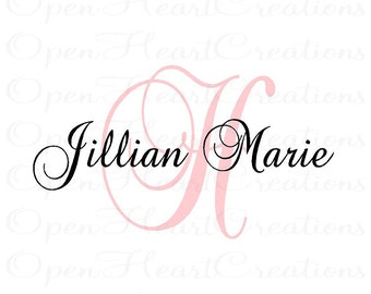 Personalized Vinyl Wall Decal - Elegant Monogram Initial and namd wall lettering transfer sticker IN0016
