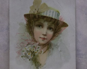 Beautiful Lady with Big Blue Eyes - Pastel Colors - Victorian Trade Card - Lion Coffee - 1894