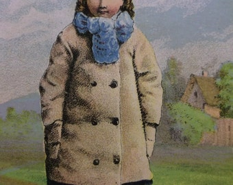 Cute Little Girl in Coat & Hat - Victorian Card - 1800's