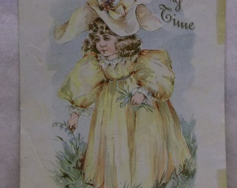 Pretty Girl in Bright Yellow Dress & Hat - Springtime - Colorful Litho Print - Frances Brundage