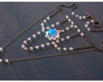 thellaiysa - crystal star necklace - strangely romantic necklace featuring dramatic crystal pendant & rosary style chainwork w/earrings