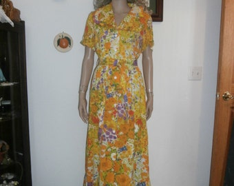 Womens Short Sleeve- Dress -Yellow Floral Maxi ~Ruffle  Dress Casual With Belt