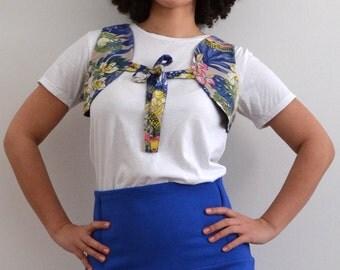 "SALE % Bolero Vest ""hippie"" with flowers, blue"