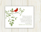 Red Bird Funeral Thank You Card - Digital file - sympathy thank you card