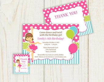 Dance Birthday Invitation and party items - digital