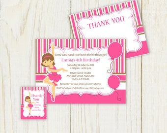 Dance Party Invitation Printable - Printable Invitation customizable cupcake toppers, favor tags & thank you notes