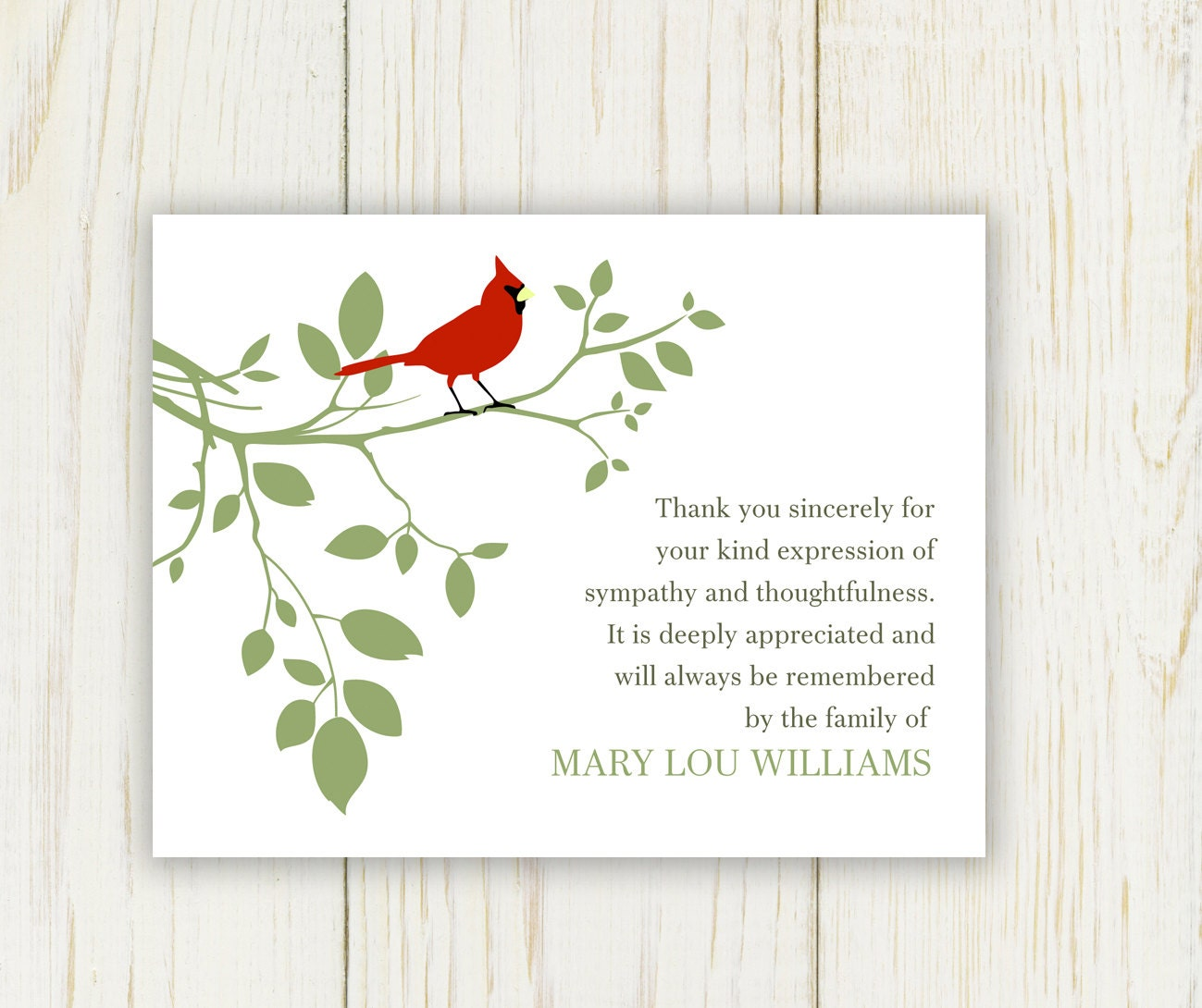 Red Bird Funeral Thank You Card Digital sympathy card