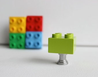 Brick Kids Drawer Knobs - Kids Brick Drawer Knobs in Lime Green (TK03-08)
