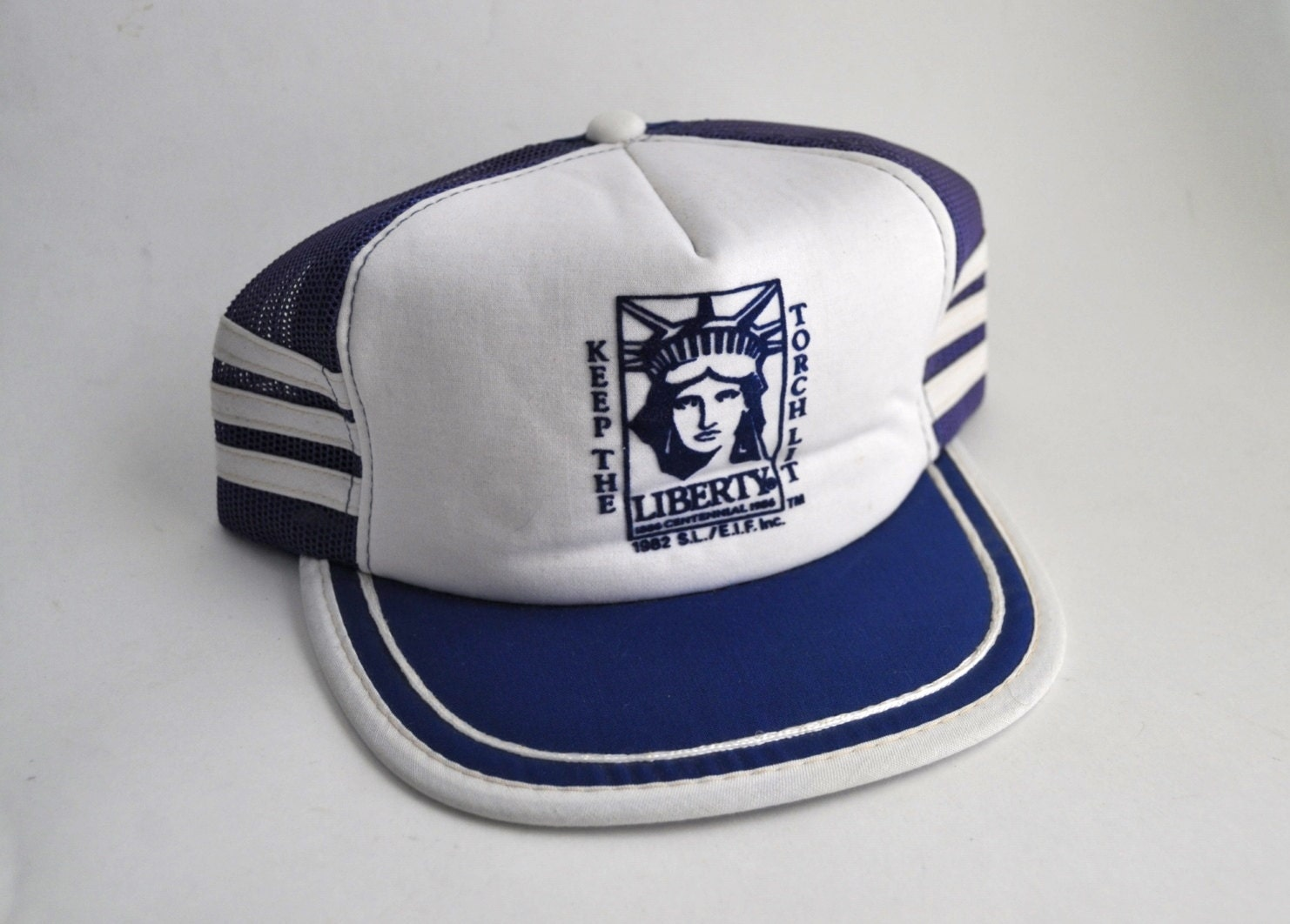 Vintage Hat Mesh Baseball Cap Snapback 80s Trucker Striped