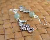 SALE:  Green Aventurine and Seahorse Charm Earrings - 75% Off