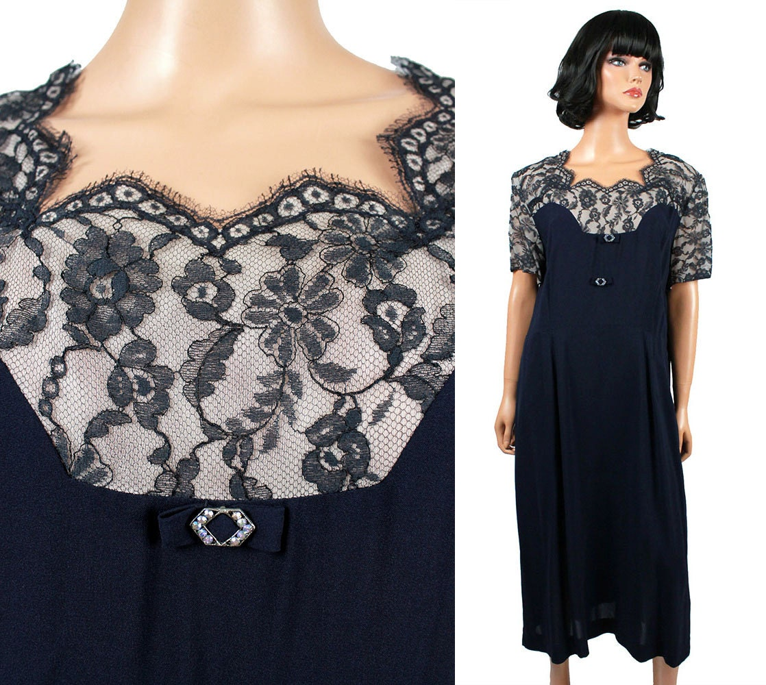 40s cocktail dress xxl 2x plus size vintage blue lace illusion for Cocktail xxl