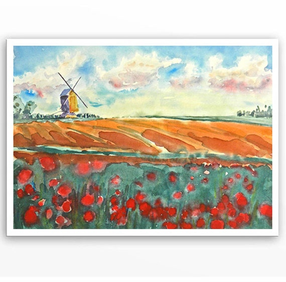 Original Watercolor Painting Dutch rusty green landscape Windmill art of The Netherlands Tulips abstract Landscape - 10 x 14