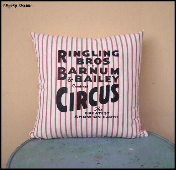 "Circus Sideshow striped 16"" x 16"" throw pillow cover - circus decor, vintage decor, burlesque decor, red and white stripes"