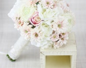 Silk Bride Bouquet Peony Peonies Roses Ranunculus Daisies Country Wedding Lace (Item Number 130116)