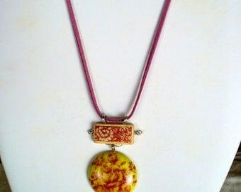 Rose Pendant, Bamboo & Resin Pendant