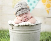 Baby Boy Newsboy Knit Hat - Grey
