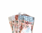 Bridesmaids Gift Shoe Bags, Set of 6, Peach Floral Print