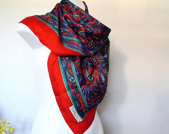 Vintage Scarf Paisley Large Square Scarve Red Purple Green Blue Sunkyung Sa Bold Color