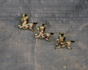 Three Vintage  Pink Dotted Pony Pins