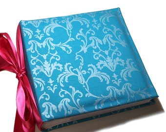Turqoise  Blue  Damask Recipe Album With Recipe Cards