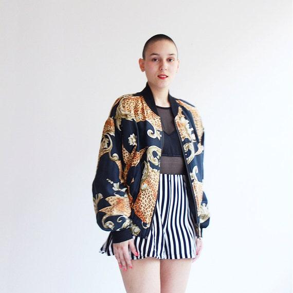 Silk bomber jacket vintage leopard floral jacket by CaesarPony