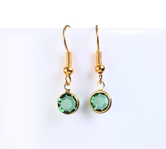 Bridesmaid gift - Petite green Austrian crystal round gold dangle earrings (697) - Flat rate shipping