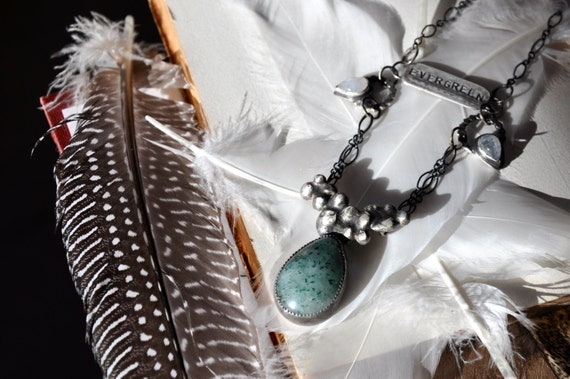 RESERVED- The Evergreen Romantics Necklace. molten silver, moonstone and agate