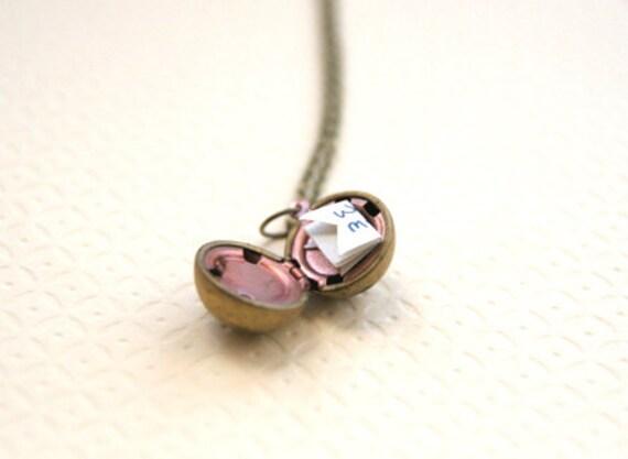 Personalized Hand Written Vintage Brass Ball Locket Necklace // Bridesmaid Locket Necklace // Secret Message Locket // Bridesmaid Gifts