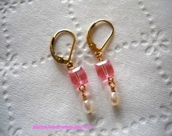 Handmade Earrings with Light Rose Pink Swarovski Crystal Cubes and Fresh Water Pearls