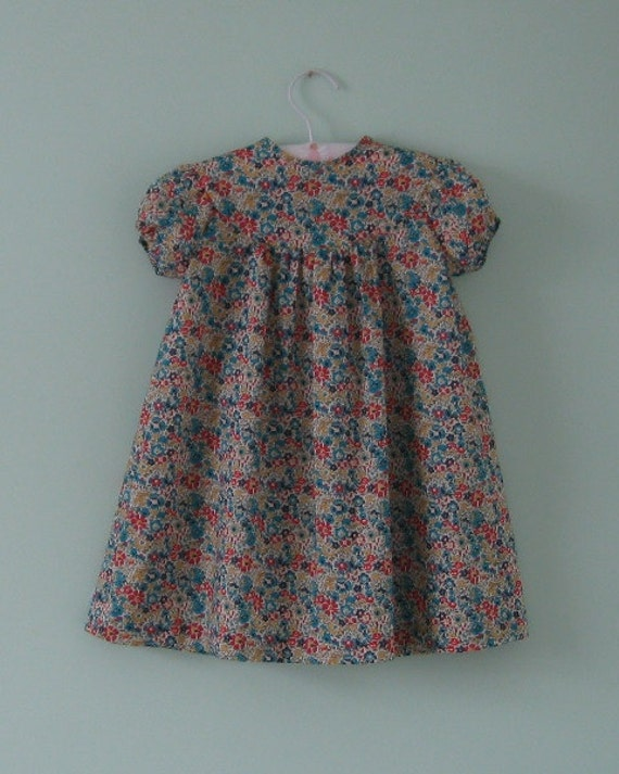 Lovely liberty lawn dress for a 2 year old little girl.