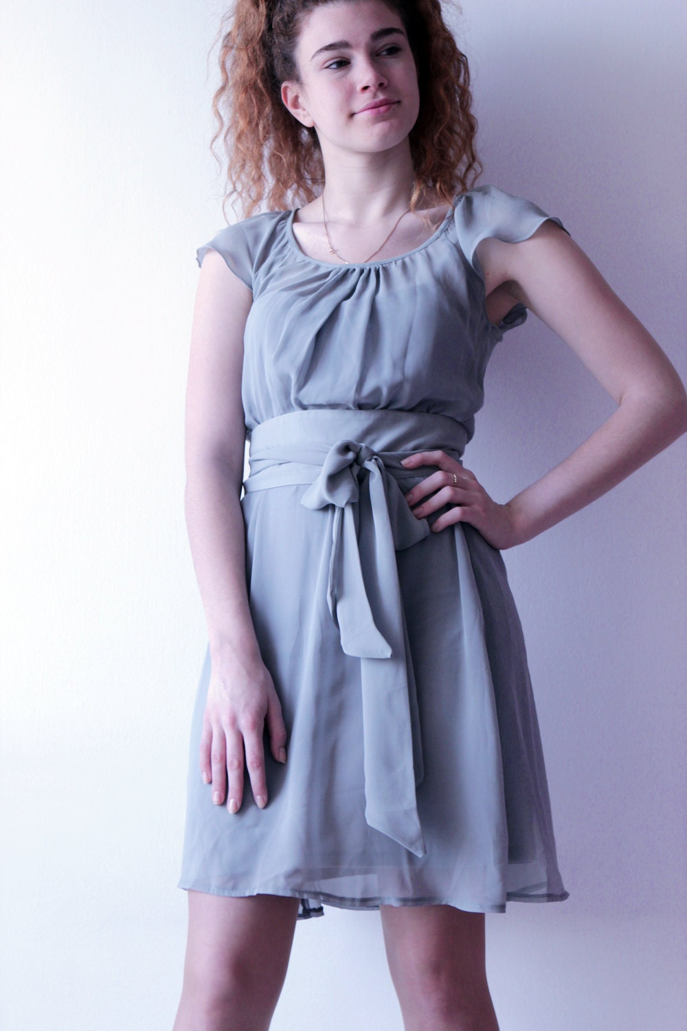 Bridesmaid Chiffon Gray Dress Graduation Dress Wedding Guest
