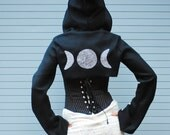 Crescent Moons Women's Bolero Jacket, Long Sleeved Polar Fleece Cropped Shrug, Moon Goddess Pagan Festival Clothing