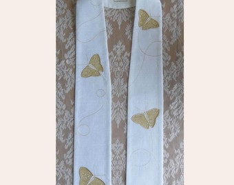 Easter Clergy Stole -- Silk Dupioni with Gold Butterflies  -- Will ship in 4 months