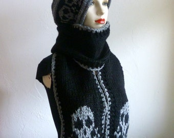 Knit black chunky scarf with skulls, knit long scarf, skull scarf