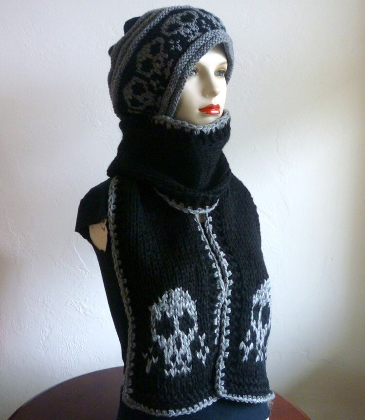 Knitting Pattern Skull Scarf : Knit black chunky scarf with skulls knit long scarf skull