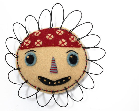 Folk Art Flower Face Sculpture, Poppy, wire and felt