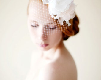 Bridal Headpiece, Floral Veil, Lace headpiece, Bridal veil, Birdcage veil - Style 231