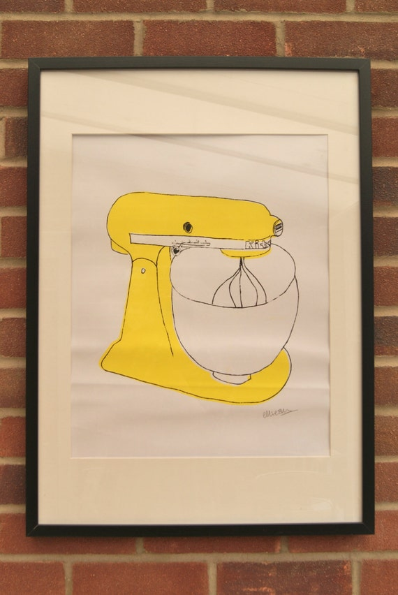 A2 Silk Screen Print of Classic Food Mixer in Yellow