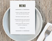 Printable Wedding Menu Template   INSTANT DOWNLOAD   Nightlife  5x7   Editable Colors   Mac or PC   Word & Pages