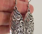 Oval Puffed Silver Filigree Earrings, Oval Pewter Earrings, Large Earrings, Statement Jewelry, Antiqued Silver Earrings, Gift under 30