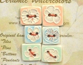YUMMY SORBET BUTTONS 6 handmade ceramic 2 hole rectangle flowers sea squall oasis 8 bit magma gift collection by Faith Ann Originals