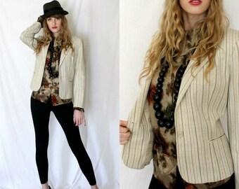 1970s Striped Linen Blazer Jacket - Celadon Rust Ticking - Vintage - Career Wear - Women Medium